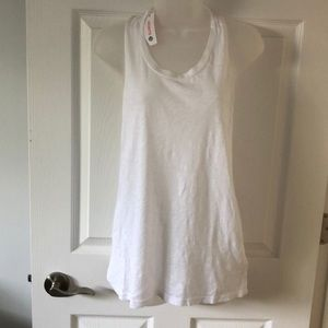 Sundry White Twisted Back Tank Top